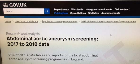 Computer screen showing 2017 to 2018 AAA screening data publication on GOV.UK
