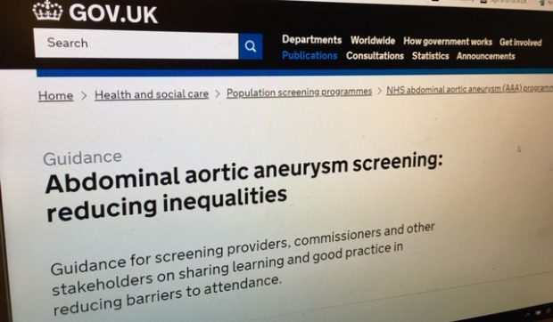 Computer screen showing the 'AAA screening: reducing inequalities' publication on GOV.UK