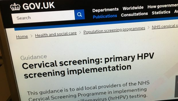 A computer screen showing the primary HPV screening implementation guidance on GOV.UK