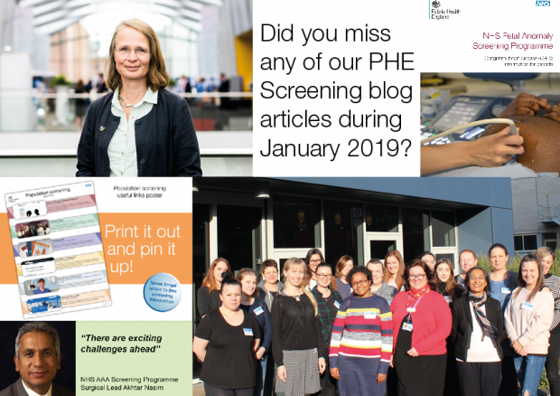 Different images used in PHE Screening blog articles during the month of January 2019 along with the question 'Did you miss any of our PHE Screening blog articles during January 2019?'