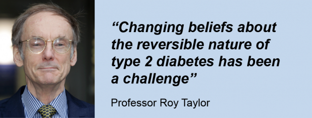 A man on the left hand side, Professor Roy Taylor, and his quote: 'Changing beliefs about the reversible nature of type 2 diabetes has been a challenge'
