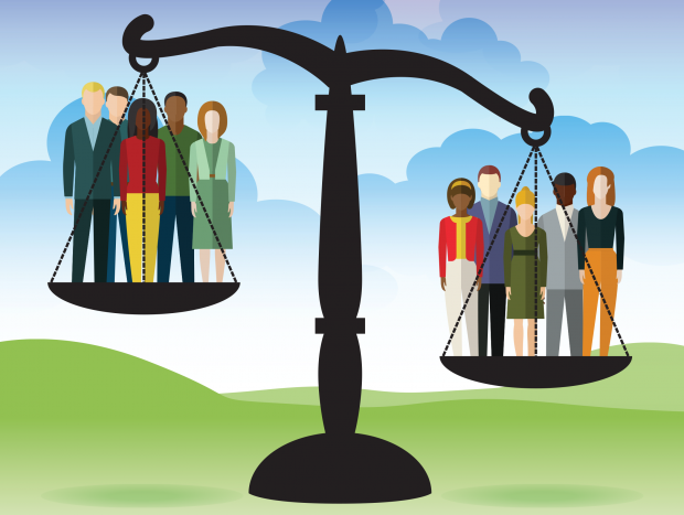 Illustration of weighing scales with a group of people in each side of the scale. This illustrates the balance of benefits and harms to the population as a whole that are weighed up when considering screening recommendations.