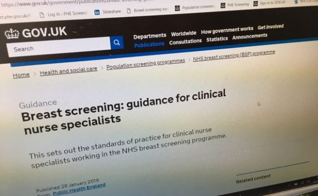 Image showing GOV.UK publication 'Breast screening: guidance for clinical nurse specialists'