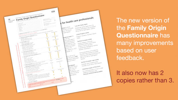 Picture of the front and back of the new FOQ, with text saying 'The new version of the Family Origin Questionnaire has many improvements based on user feedback. It also now has 2 copies rather than 3.'