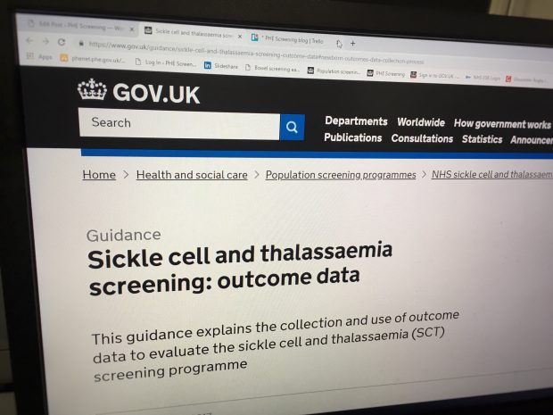 Image of the GOV.UK publication on a monitor that explains the collection and use of outcome data to evaluate the SCT screening programme