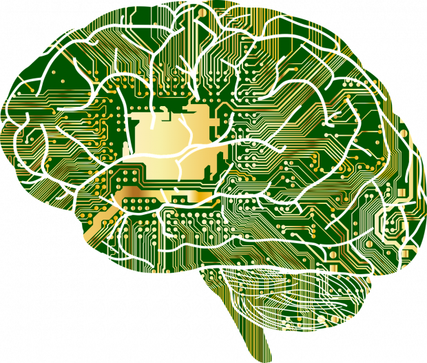 An image of a brain with electrical circuit boards imposed on top of it.