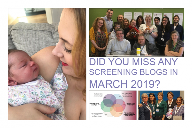 The infographic shows 4 photos and the words 'did you miss any of our screening blogs in March 2019?'