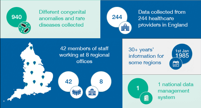 Infographic showing that 940 different congenital anomalies and rare diseases are collected from 244 healthcare providers in England by 42 members of staff working at 8 regional offices
