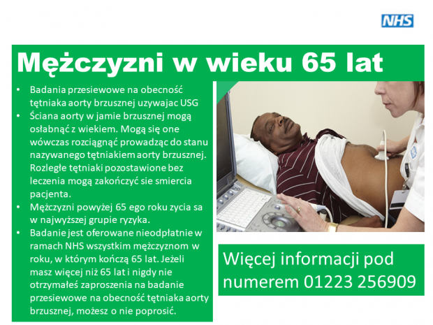 An information poster of AAA screening translated into Polish featuring image of a man being screened