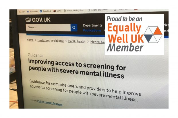 Computer screen showing the new guidance publication on GOV.UK. Superimposed on the screen shot is the Equally Well UK logo which includes the words 'Proud to be an Equally Well UK member'