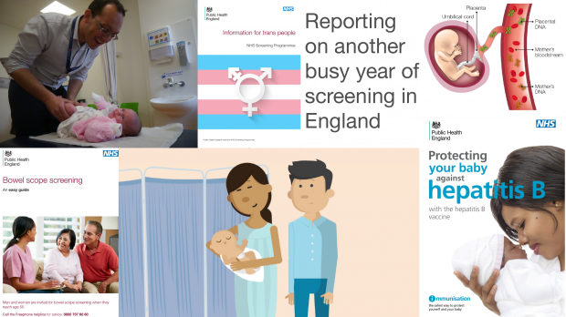Illustration with the headline 'Reporting on another busy year of screening in England'. Illustration includes: image of a clinician carrying out hip element of the newborn and infant physical examination on a baby; the front cover of the PHE Screening information for trans people leaflet; a diagram showing a baby growing in the womb with labels to the umbilical cord, placenta and the mother's bloodstream with placental DNA and mother's DNA labelled; the front cover the PHE Screening easy guide to bowel scope screening, an image from the PHE Screening animation of antenatal and newborn screening; and a poster with the heading 'Protecting your baby against hepatitis B'
