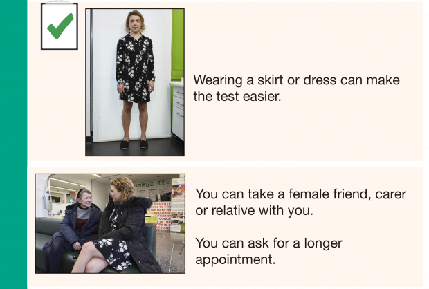 Image of part of the new cervical screening easy guide. It shows photo of woman waearing a dress next to words 'Wearing a skirt or dress can make the test easier. It also includes a photo of the woman in the first photo talking happily to another woman alongside the words 'You can take a female friend, carer or relative with you. You can ask for a longer appointment.'