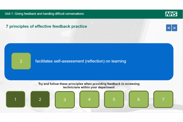 AAA screening elearning unit slide entitled 'Unit 1: Giving feedback and handling difficult conversations'. Sub-hearding reads '7 principles of effective feedback practice. At bottom of slide are 7 green boxes numbered 1 to 7 below the wording 'Try and follow these principles when providing feedbck to screening technicians within your department. Number 2 has been clicked on to reveal the wording 'facilitates self-assessment (reflection) on learning'