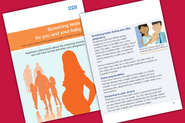 The front cover and an inside page from the new version of Screening Tests For You and Your Baby