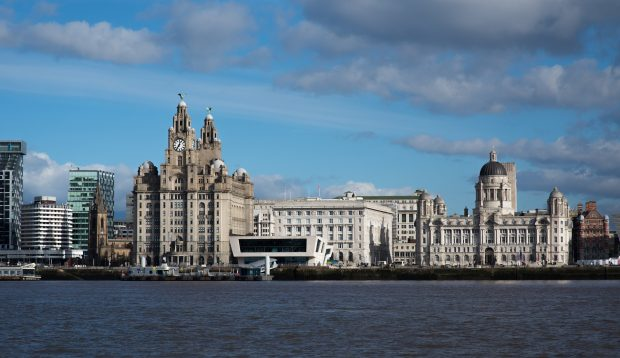 The River Mersey with Liverpool city centre in the background