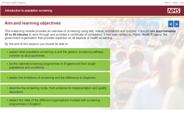 Screenshot of a slide from the new e-learning module showing what users will learn by completing it. The slide has the heading 'aim and learning objectives'.