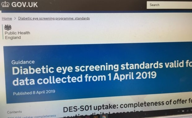Image of a compute screen displaying the new diabetic eye screening standards page on GOV.UK