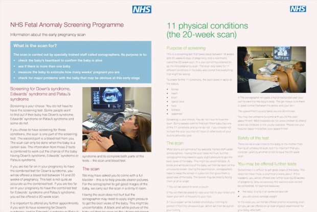 Image of the front pages of the updated early pregnancy scan (left) and 20-week scan information sheets for pregnant women