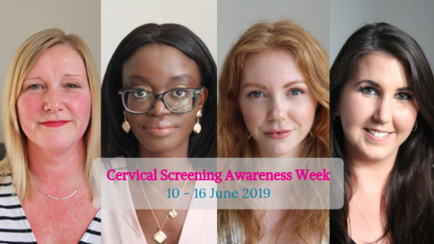 Photo shows head and shoulders shots of 4 women. Words near the bottom say Cervical Screening Awareness Week, 10 to 16 June 2019.