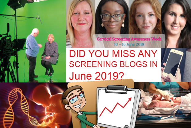 An infographic has 5 photos on it as part of a montage with the words 'did you miss any screening blogs in June 2019?' There is a photo of 4 women for cervical screening awareness week.