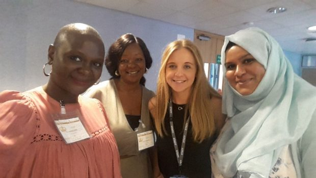 A photo of 2 Nigerian delegates and 2 members of PHE staff