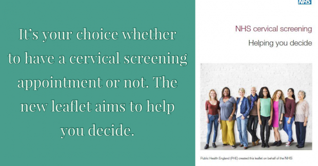 Cervical screening leaflet alongside the words: 'It is your choice whether to have a cervical screening test or not. This leaflet aims to help you decide.'