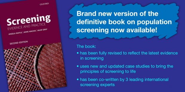 The front cover of the book has text saying: brand new version of the definitive book on population screening now available