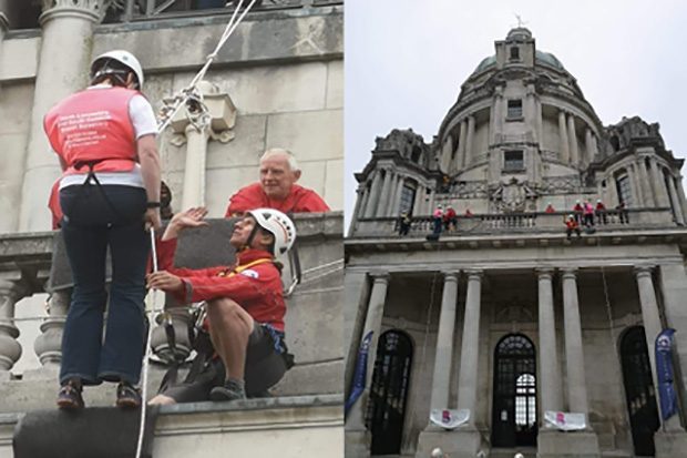 A close-up picture of volunteers abseiling down the tower in Williamson Park, and a full-view image of the tower