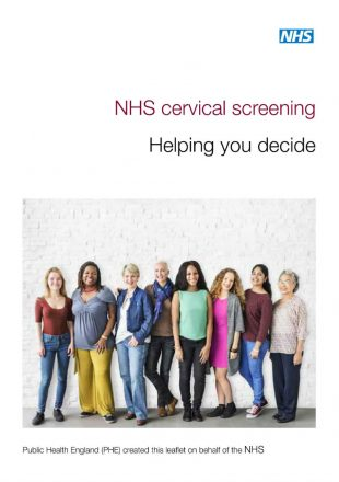 Front page of the leaflet Cervical screening helping you decide