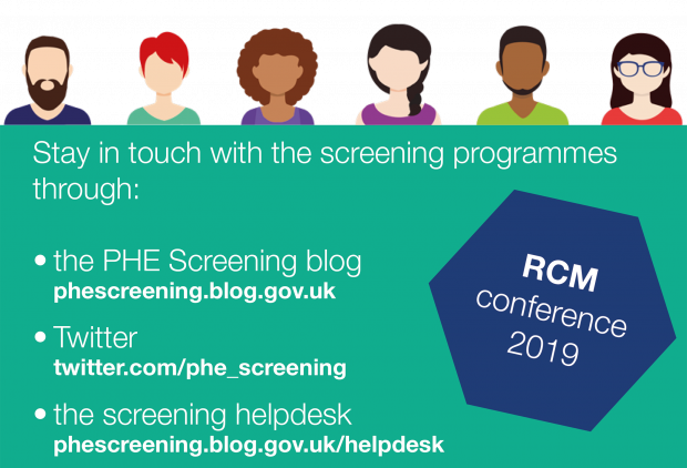 image of men and women and the words say how to stay in touch with the PHE screening programmes through the blog Twitter and the helpdesk.