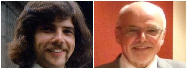 2 photos side by side show Professor Bonham as a young man and then as he is now.
