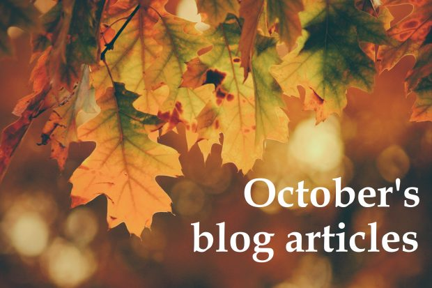 Autumn leaves in soft focus and the words October's blog articles