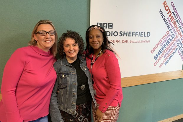 Breast Care Nurse Christina Dyer, centre, with BBC Radio Sheffield's Becky Measures and Liessje Dusauzay