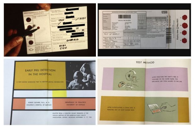 A group of images showing an old style blood spot card, a current blood spot card and extracts from a leaflet called ''Early PKU detection in the hospital' by Dr Robert Guthrie, 1961