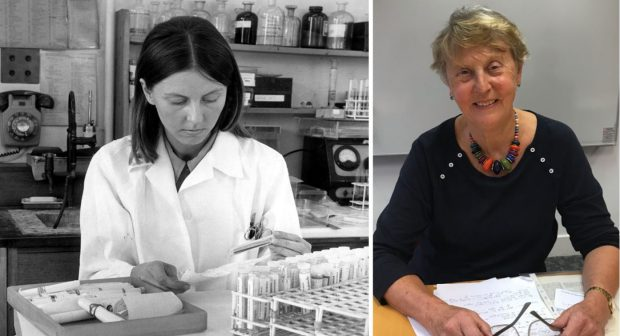 Two photos of Dr Anne Green - in a newborn screening laboratory in 1971 and today sitting at a desk