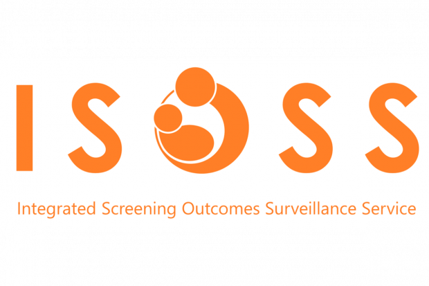 Orange letters on white background of ISOSS which stands for Integrated Screening Outcomes Surveillance Service