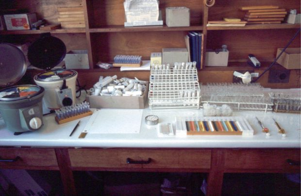 A laboratory bench with equipment for carrying out newborn screening using the Scriver technique - 1969