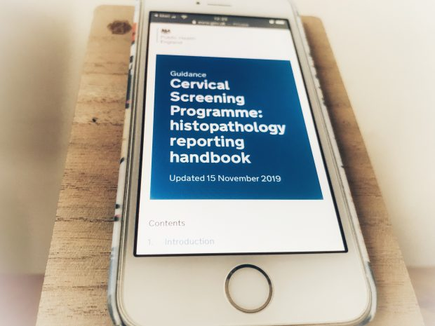A mobile phone has been used to look up the new histopathology reporting handbook