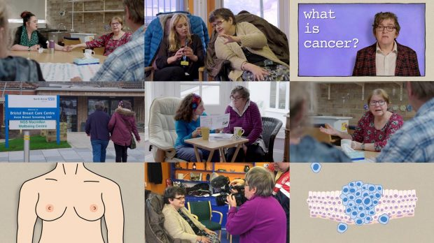 Montage of nine still shots from the video showing women with learning disabilities at various stages of the breast screening progress and diagrams from easy read breast screening leaflets.
