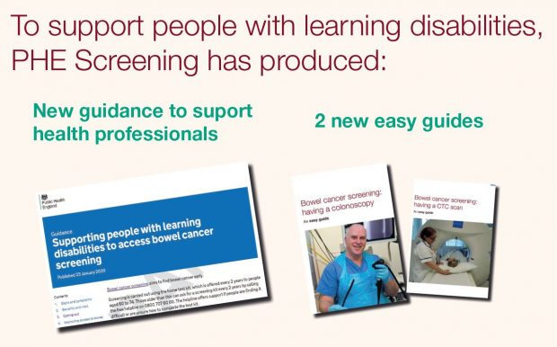 Infographic shows the professional guidance and 2 new easy guides. Words say: To support people with learning disabilities, PHE has produced new guidance and easy guides.