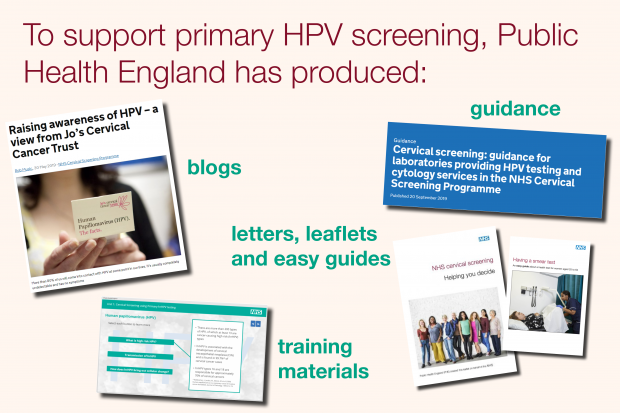 An infographic shows the various online updates PHE has issued. Words say: To support primary HPV screening, PHE has produced blogs, letters, leaflets and easy guides, training materials and guidance.