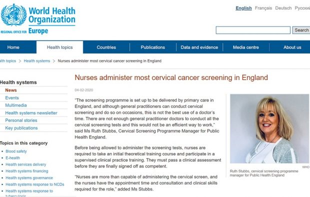 The article on the WHO website discussing Nurses administering most cervical cancer screening in England