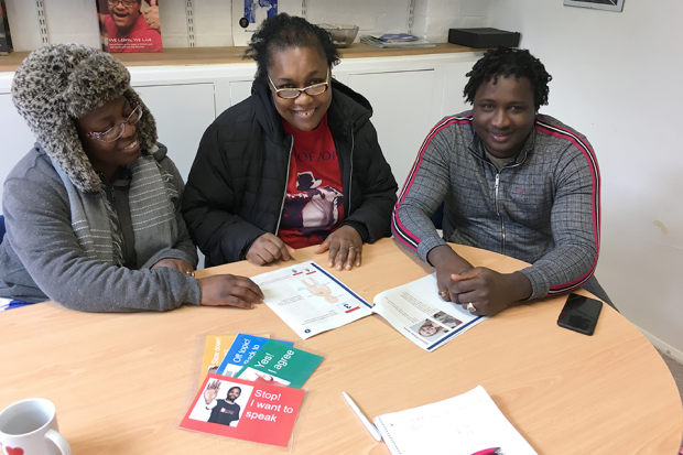 Parents with learning disabilities discuss content of easy read leaflets