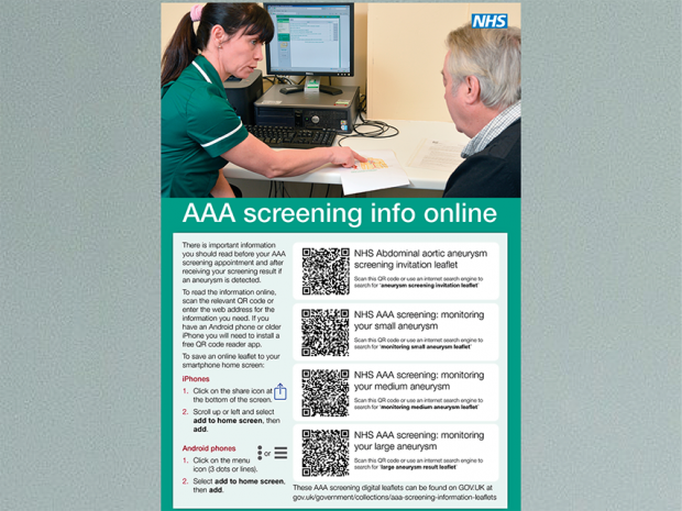 AAA screening information poster on a wall