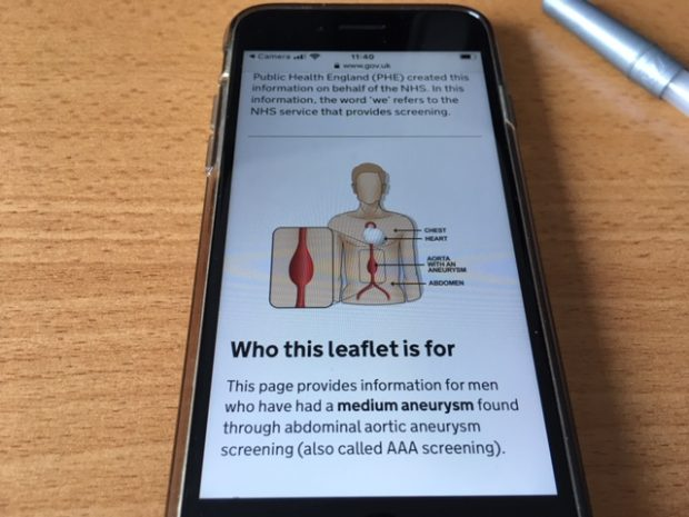 Digital version of medium AAA screening result leaflet on a smartphone screen